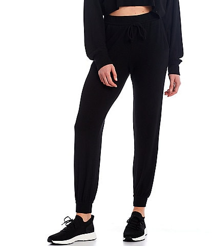 NIA Ribbed Hacci Drawstring Straight Leg Ankle Joggers