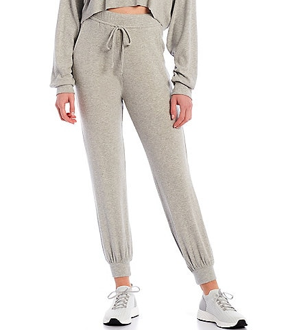 NIA Ribbed Hacci Drawstring Straight Leg Coordinating Ankle Joggers
