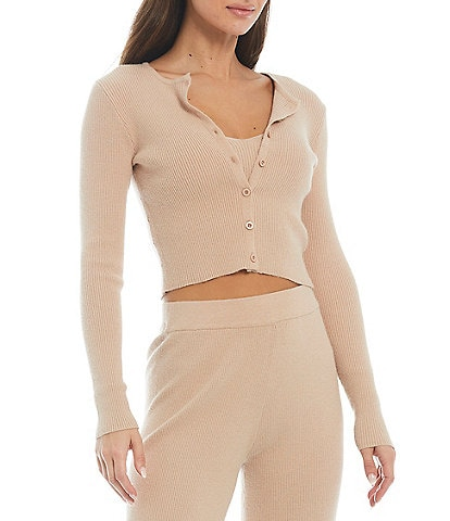 NIA Long Sleeve Button Front Cropped Olivia Twin Set