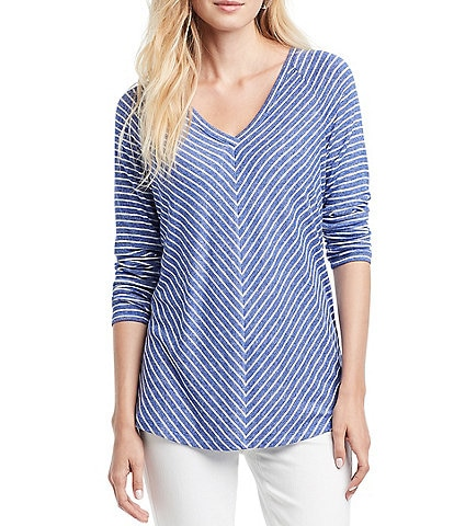 NIC + ZOE Angled Relaxed Stripe Knit Top