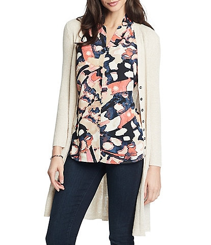 NIC + ZOE In A Twirl Long Sleeve Button Front Linen Blend Cardigan