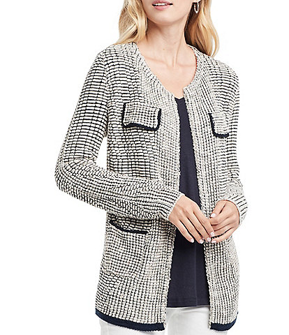 NIC + ZOE Textured Knit Open Front Jacket