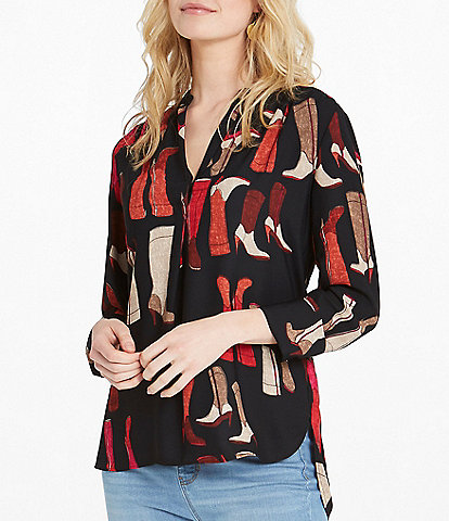NIC + ZOE These Boots V-Neck 3/4 Sleeve Hi-Low Blouse