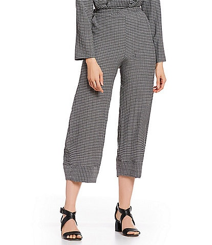 Niche Canopy Plaid Wide Tapered Cropped Pants