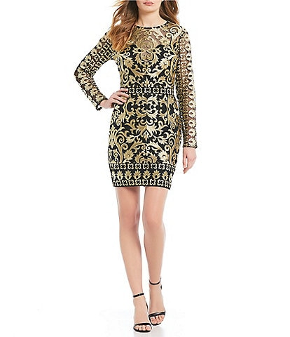 Nicole Miller Metallic Illusion Dress