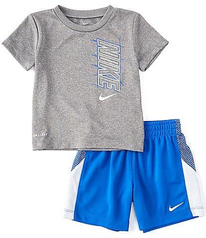 Nike Baby Boys 12-24 Months Short-Sleeve Block Tee & Pieced Shorts Set