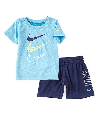 Nike Baby Boys 12-24 Months Short-Sleeve Dri-FIT Dropset Logo Tee & Shorts Set