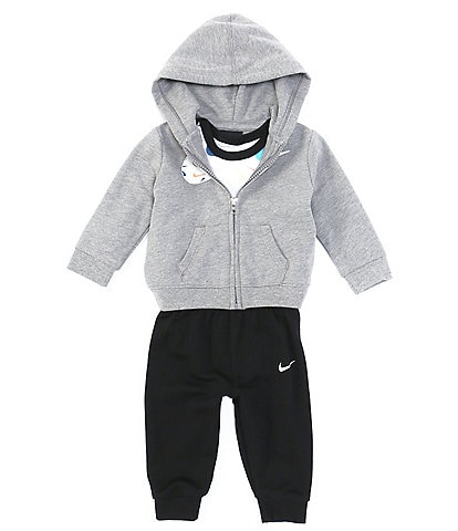 Nike Baby Boys Newborn-24 Months French Terry Hoodie, Long-Sleeve Swooshfetti Parade Bodysuit & Pant Set