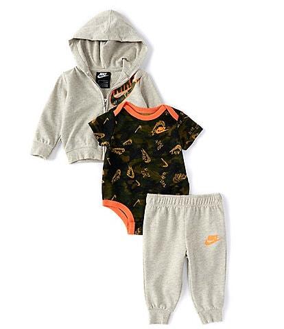 Nike Baby Boys Newborn-24 Months Short-Sleeve Camouflage Bodysuit, Hoodie & Jogger Pants Set