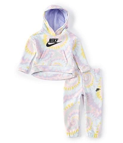 Nike Baby Girls 12-24 Months Logo Tie-Dye Fleece Pullover Hoodie & Jogger Set