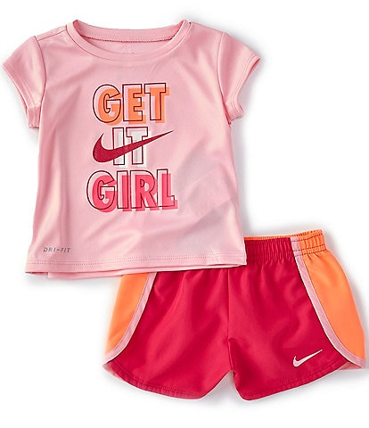 Nike Baby Girls 12-24 Months Short-Sleeve Get It Girl Tee & Sprinter Shorts Set