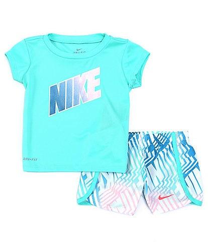 Nike Baby Girls 12-24 Months Short-Sleeve Laser Block Tee & Printed Sprinter Shorts Set