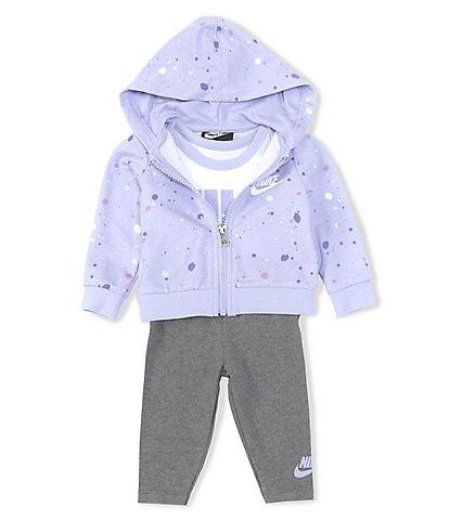 Nike Baby Girls Newborn-24 Months Confetti Hoodie, Short-Sleeve Logo Bodysuit & Leggings Set