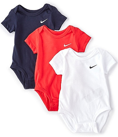 Nike Baby Newborn-9 Months Short-Sleeve Swoosh Three-Pack Bodysuits