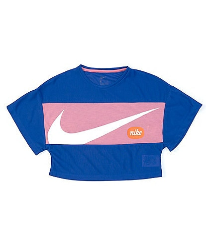 Nike Big Girls 7-16 Short-Sleeve Logo Block Cropped Tee