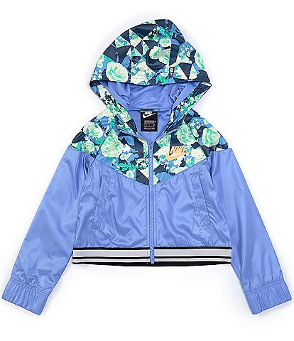 Nike Big Girls 7-16 Sportswear Floral Chevron Windrunner Jacket