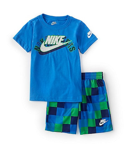 Nike Little Boys 2T-6X Short-Sleeve Logo Tee & Checkered Shorts Set