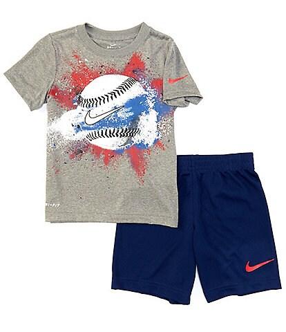Nike Little Boys 2T-7 Short-Sleeve Baseball Tee & Shorts Set