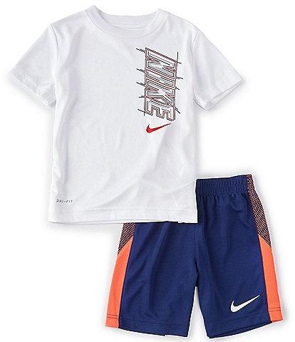 Nike Little Boys 2T-7 Short-Sleeve Block Tee & Pieced Shorts Set