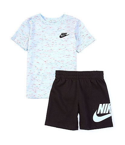 Nike Little Boys 2T-7 Short-Sleeve Logo Tee & Suede French Terry Shorts Set