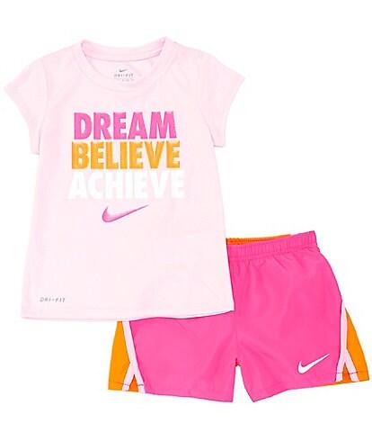 Nike Little Girls 2-6X Short-Sleeve Dream Believe Achieve Tee & Short Set