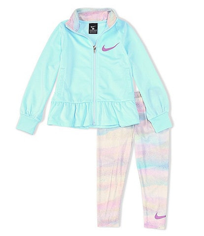 Nike Little Girls 2T-6X All-Over Print Full-Zip Tricot Jacket & Tie-Dyed Jogger Pants Set