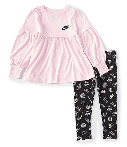 Nike Little Girls 2T-6X Long-Sleeve Iconic Lash Tunic & Printed Leggings Set