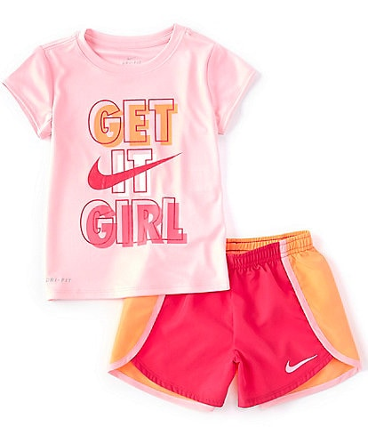 Nike Little Girls 2T-6X Short-Sleeve Get It Girl Tee & Sprinter Shorts Set