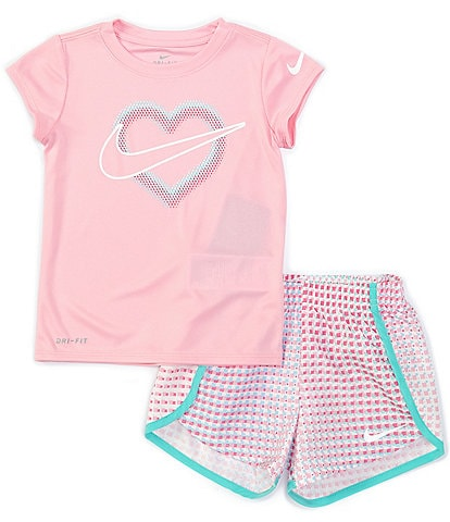 Nike Little Girls 2T-6X Short-Sleeve Heart Graphic Tee & Pixel Pop Shorts Set