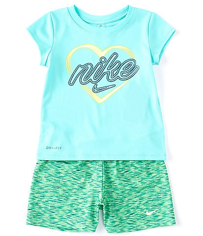 Nike Little Girls 2T-6X Short-Sleeve Heart Graphic Tee & Space-Dye Shorts Set