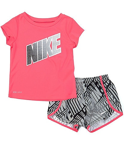 Nike Little Girls 2T-6X Short-Sleeve Laser Block Tee & Printed Sprinter Shorts Set