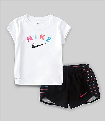 Nike Little Girls 2T-6X Short-Sleeve Sprinter AOP Tee & Shorts Set