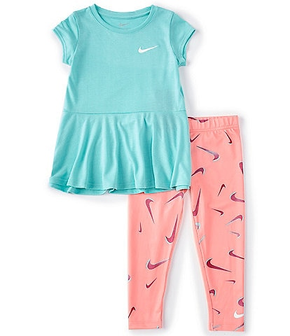 Nike Little Girls 2T-6X Short-Sleeve Swoosh Tunic & Swoosh Leggings Set