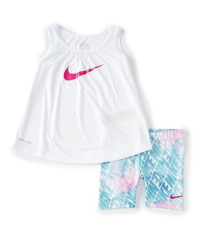 Nike Little Girls 2T-6X Swoosh Tunic & Sublimation-Printed Bike Shorts Set