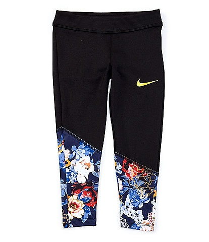 Nike Little Girls 4-6X Solid/Floral Colorblock Leggings