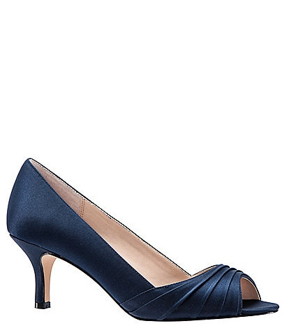 Nina Chezare Satin Peep Toe Pumps