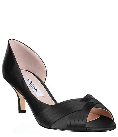 Nina Contesa Satin d'Orsay Peep-Toe Pumps