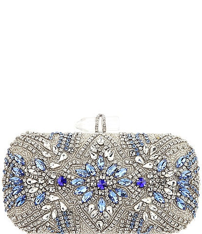Nina Jeweled Glass Crystal Bead Lift-Lock Minaudiere