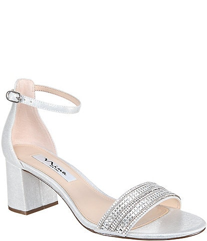 Nina Elenora Rhinestone Embellished Suede Ankle Strap Block Heel Dress Sandals