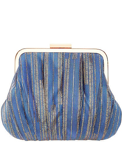 Nina Metallic Pleated Frame Clutch Bag