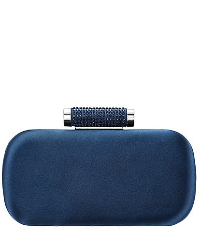 Nina Minaudiere Crystal Satin Embellished Clasp Clutch