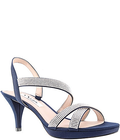 Nina Nizana Jeweled Strappy Satin Dress Sandals