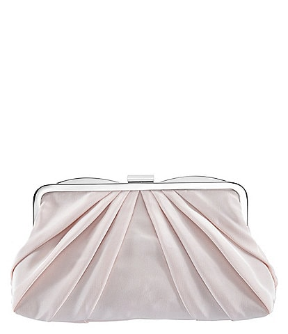 Nina Faille Pleated Frame Clutch