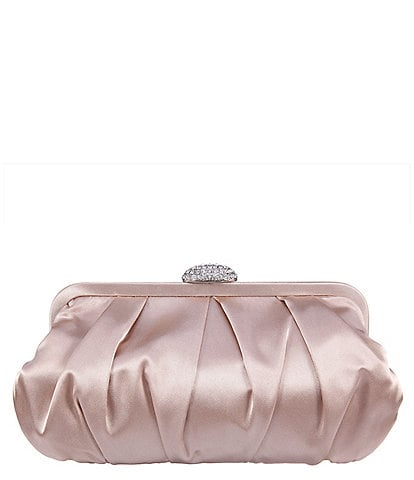 Nina Pleated Frame Crystal Satin Clutch