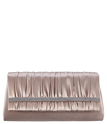 Nina Rhinestone-Trimmed Shirred Satin Clutch