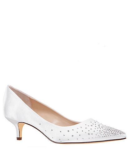 Nina Sawyer Satin Embellished Pointed Toe Kitten Heel Pumps