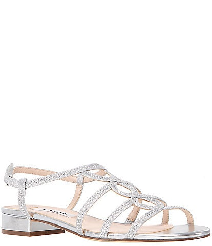 Nina Stefan Glitter Crystal Dress Sandals
