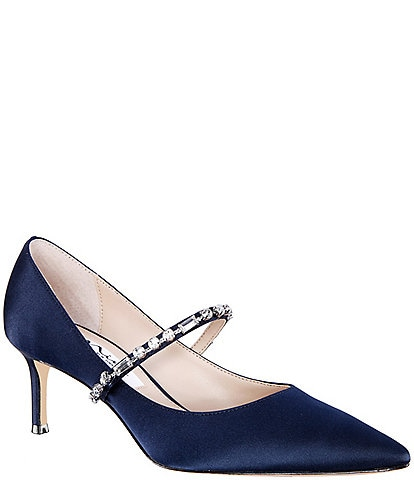 Nina Stella Satin Mary Jane Crystal Embellished Pumps