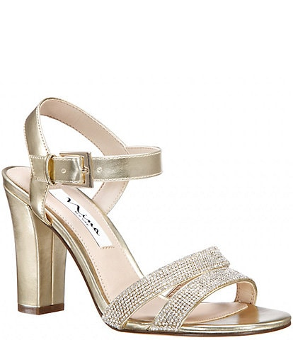 Nina Sybil Metallic Embellished Block Heel Dress Sandals