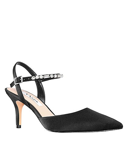 Nina Tonya Jeweled Ankle Strap Satin Pumps
